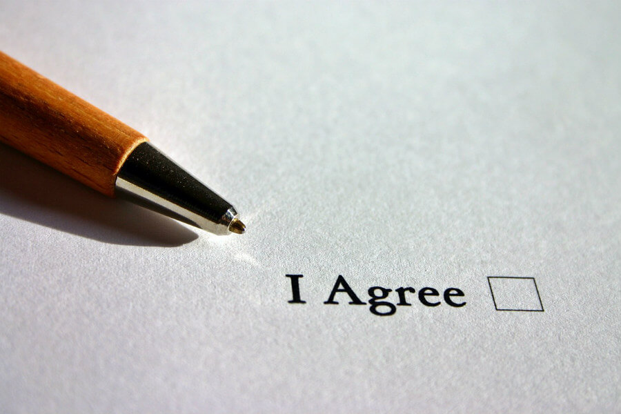 """Paper with """"I Agree"""" and checkbox"""